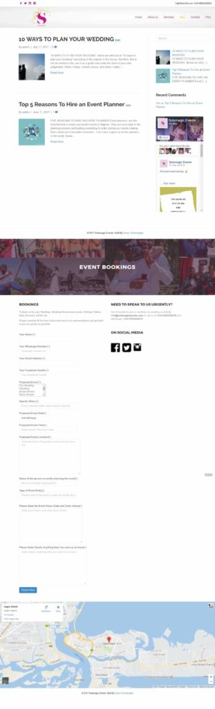 Event Bookings Page - Solamagicevents