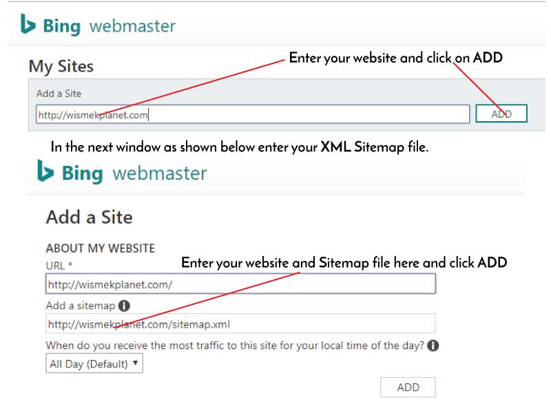 Submitting your Website and XML Sitemap to Bing