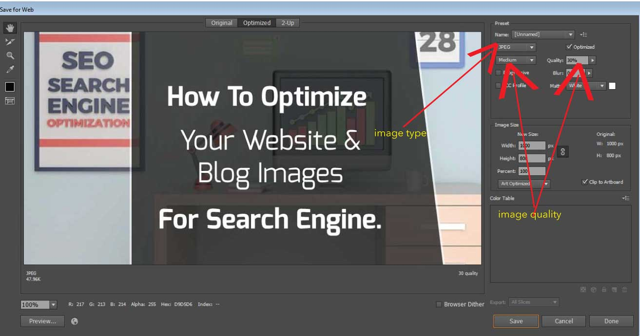How to optimize your image by reducing it size when saving it