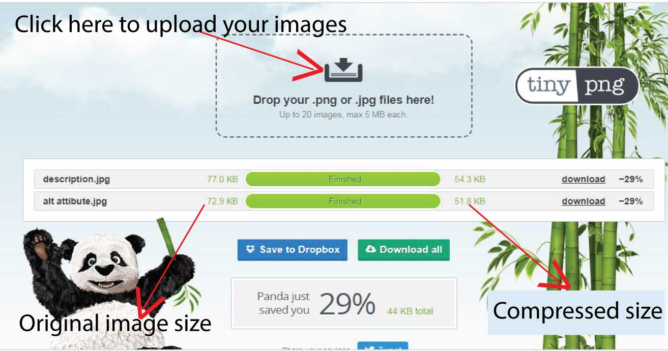 Reducing your image size with online tools like Tinypng