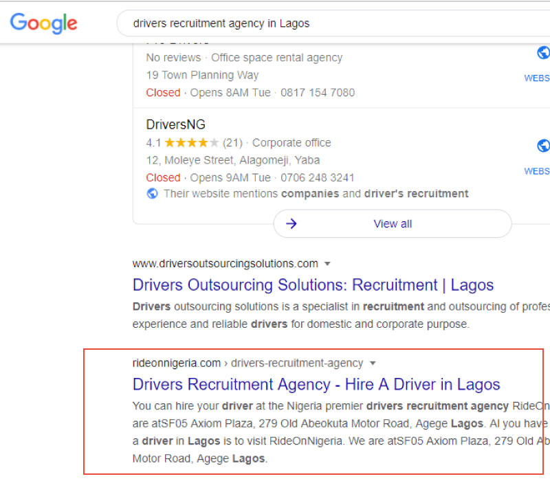 Drivers Recruitment Agency SEO Query
